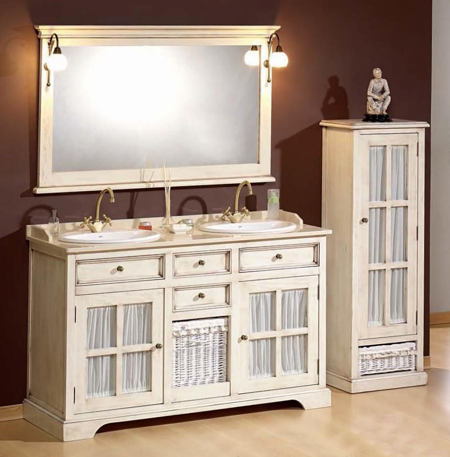badezimmermobel weis antik, antik weißer doppelwaschtisch im landhausstil mit vitrine in 13591, Design ideen