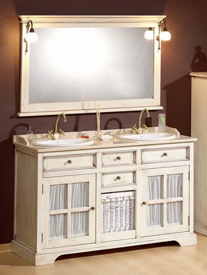 antik wei er doppelwaschtisch im landhausstil mit vitrine. Black Bedroom Furniture Sets. Home Design Ideas